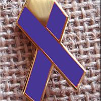 Heart Purple Ribbon Lapel Pin