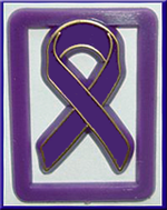 Purple Ribbon Paper Clips - Bag of 100 clips.
