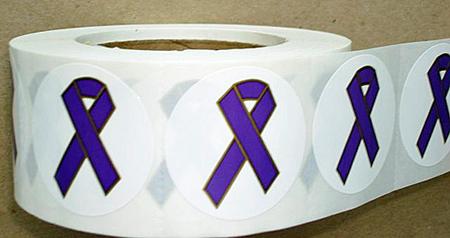 "2"" Purple Ribbon Stickers - Roll of 1,000"