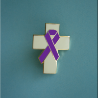 Cross w/Purple Ribbon - Lapel Pin