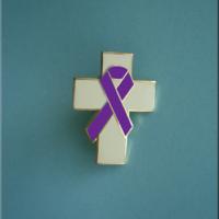 Cross w/Purple Ribbon - Lapel Pin