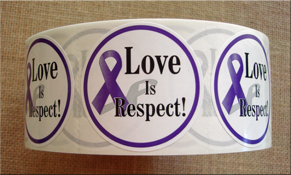 """""""LOVE IS RESPECT"""" (with awareness ribbon)Roll of Stickers"""