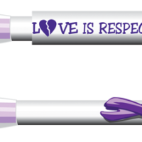 """LOVE IS RESPECT"" Purple Ribbon CLIP Pen"