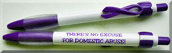 """THERE'S NO EXCUSE FOR TEEN DATING ABUSE"" Ribbon Clip Pen"