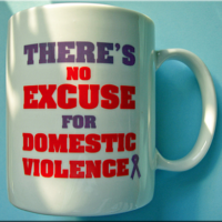 SALE TRAY OF ONE DOZEN - DV Awareness-11 oz. White ceramic mugs imprinted on two sides.