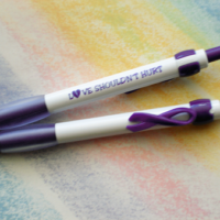 """LOVE SHOULDN'T HURT Purple Ribbon CLIP Pen"