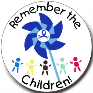 """""""Remember the Children Pinwheel"""" Stickers -  Roll of 1000"""