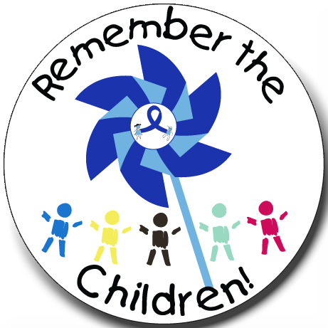 """Remember the Children Pinwheel"" Stickers -  Roll of 1000"