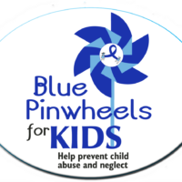 "BLUE PINWHEELS FOR KIDS -  3""x 4"" Oval Magnet"