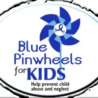 "BLUE PINWHEELS FOR KIDS -  3""x 4"" Oval Magnet"