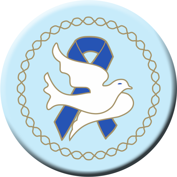 Dove w/Blue Ribbon - Button