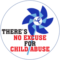 """THERE'S NO EXCUSE FOR CHILD ABUSE PINWHEEL"" Stickers -  Roll of 1000"