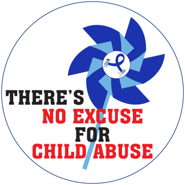 """""""THERE'S NO EXCUSE FOR CHILD ABUSE PINWHEEL"""" Stickers -  Roll of 1000"""