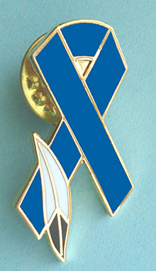 Blue Ribbon Pin w/Feather