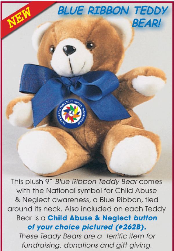 "9"" Blue Ribbon Teddy Bear with Pinwheel Button"