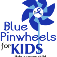 """Blue Pinwheels for KIDS"" Pinwheel Poster (18x24"")"