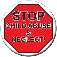Stop Sign/Child Abuse - Button
