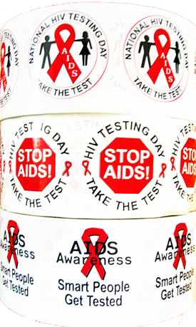 *STICKER SALE! - Three Rolls of HIV/AIDS Stickers-Rolls of 1000