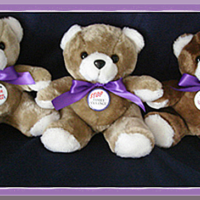 "Purple Ribbon 9"" Plush Teddy Bear"