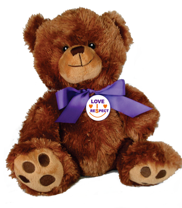 """LOVE IS RESPECT - 10"""" Teddy Bear w/embroidered features"""