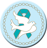 Dove Teal Ribbon Button