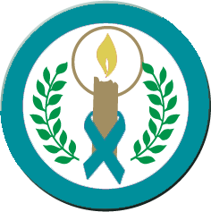 """CANDLE OF HOPE"" Teal Ribbon Button"