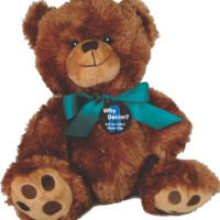 "Why Denim? Teal Ribbon  10"" Plush Teddy Bear"