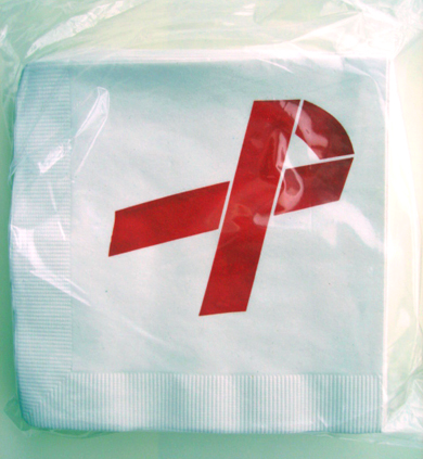 Red Ribbon Beverage Napkins Pack-100