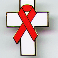 CROSS/Red Ribbon - CLOISONNE Lapel Pin