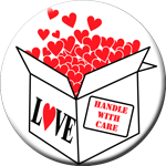 "HANDLE WITH CARE- 1 1/2"" Button"