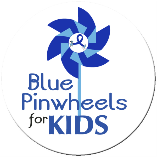"""Blue Pinwheels for Kids 2"""" Stickers - Roll of 1000"""