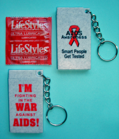 BAG OF AIDS AWARENESS CONDOM KEYCHAINS
