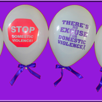 Purple Ribbon Balloons