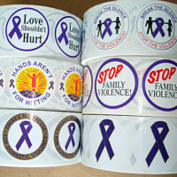*STICKER SALE-Choose any 3 Rolls  of our DV Awareness Stickers, only $48.95 per roll.