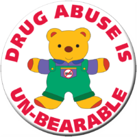 """DRUG ABUSE IS UN-BEARABLE""  Awareness Button"