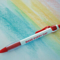 MAKE EVERY DAY WORLD AIDS DAY- Red Ribbon Clip Pen