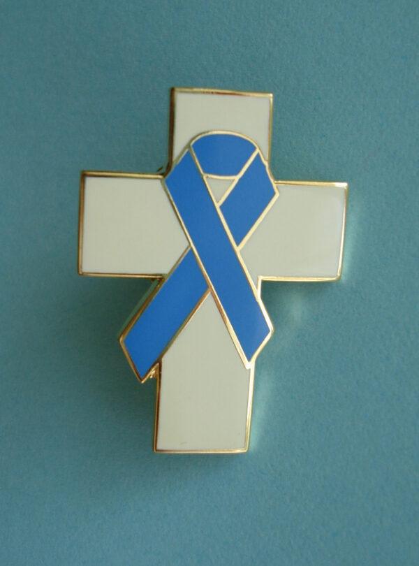 Cross Blue Ribbon - Lapel Pin