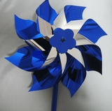 "Blue Pinwheels on a stick - Box of 25 Pinwheels +Plus a Free 18x24"" poster with your order."