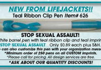 """STOP SEXUAL ASSAULT!"" - Teal Ribbon Clip- Pen"