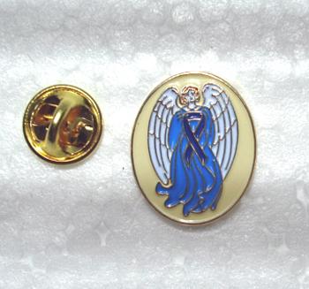 Guardian Angel w/Blue Ribbon - Lapel Pin