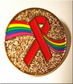 RAINBOW /Red Ribbon - Lapel Pin